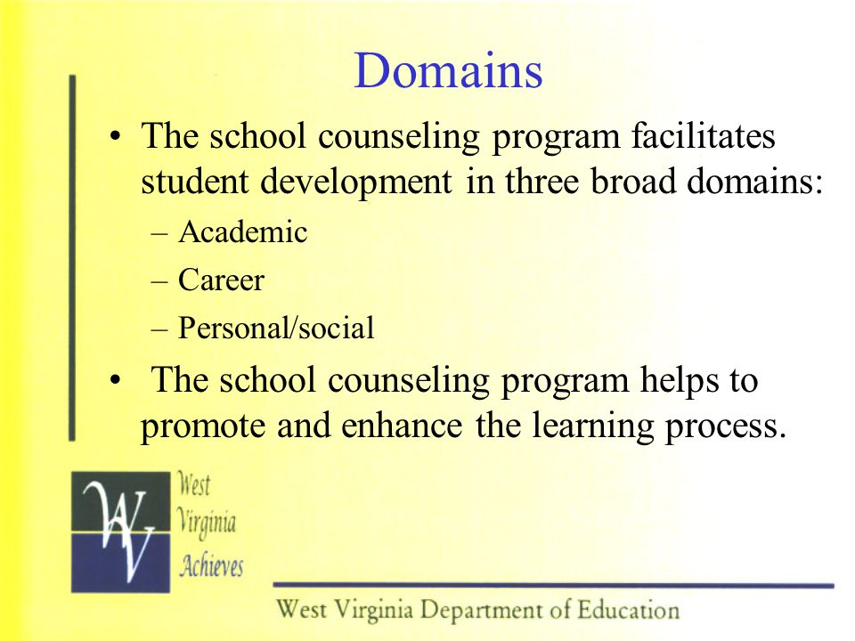 Domains The school counseling program facilitates student development in three broad domains: Academic.