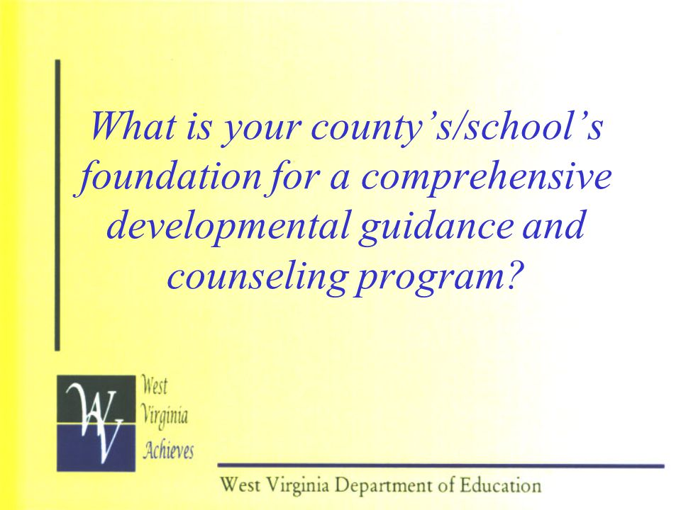 What is your county's/school's foundation for a comprehensive developmental guidance and counseling program