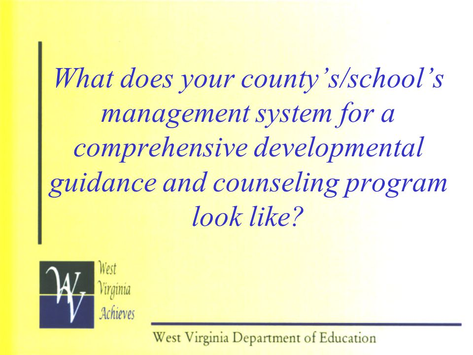 What does your county's/school's management system for a comprehensive developmental guidance and counseling program look like