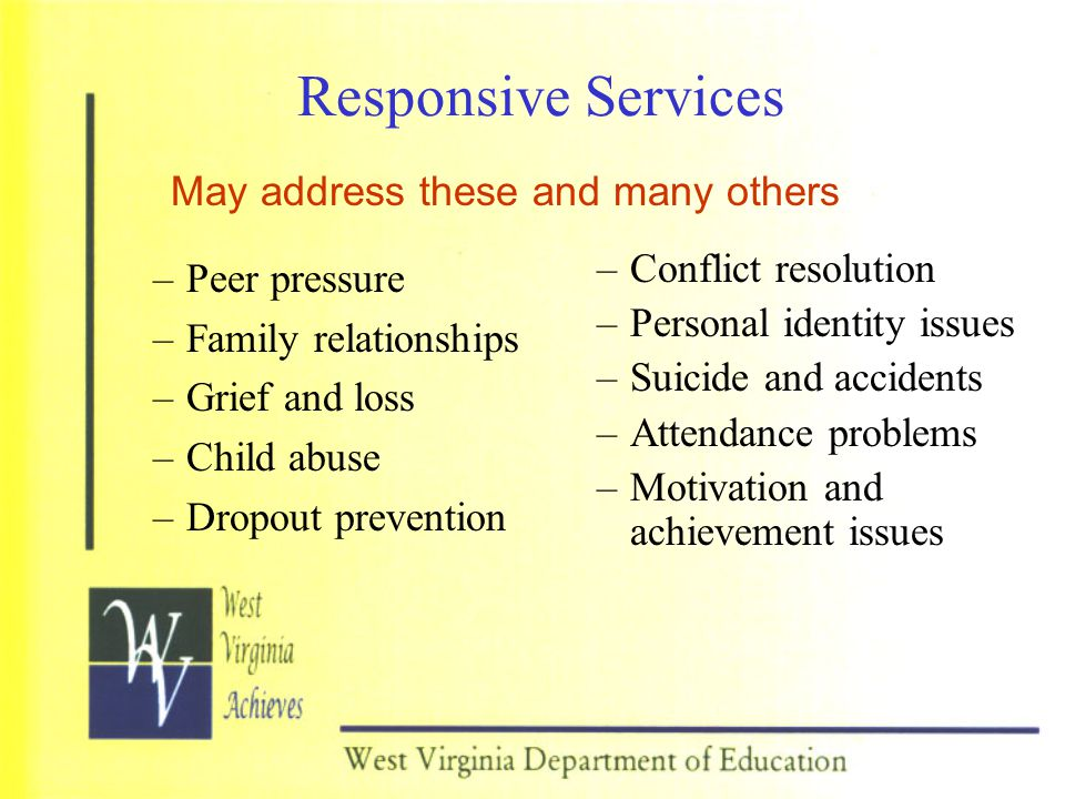 Responsive Services May address these and many others Peer pressure