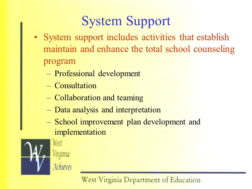 System Support System support includes activities that establish maintain and enhance the total school counseling program.