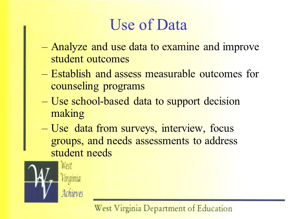 Use of Data Analyze and use data to examine and improve student outcomes. Establish and assess measurable outcomes for counseling programs.