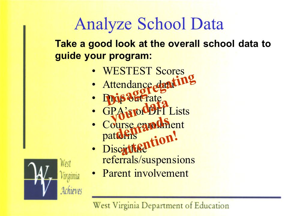 Analyze School Data Disaggregating your data demands attention!