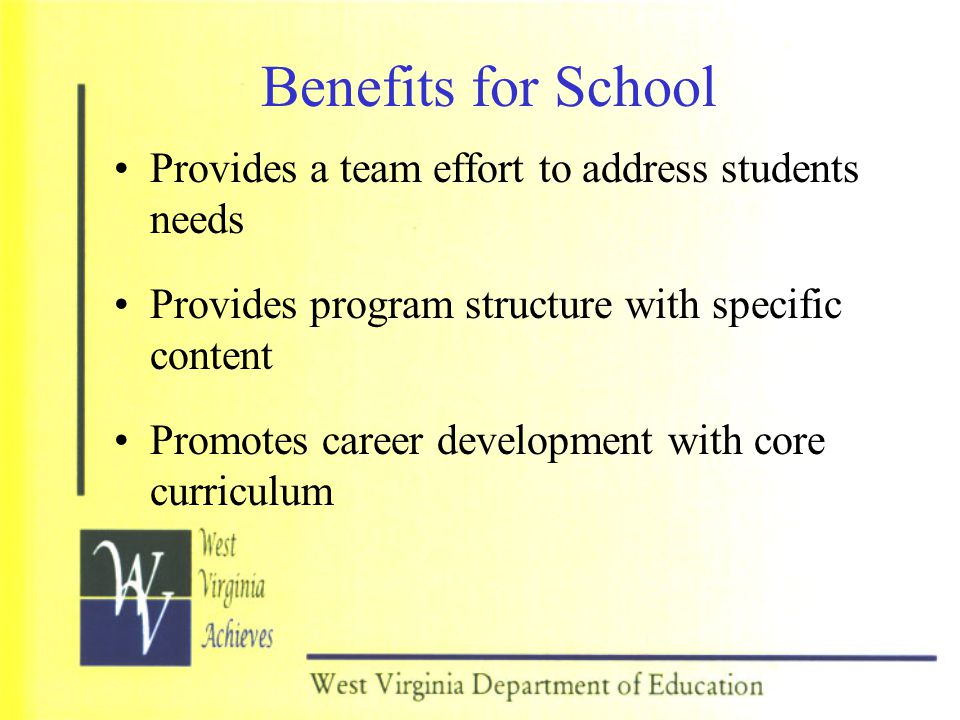 Benefits for School Provides a team effort to address students needs