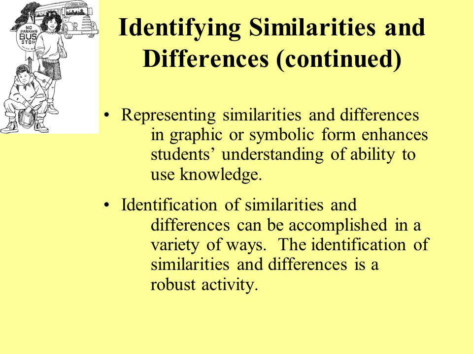Identifying Similarities and Differences (continued)