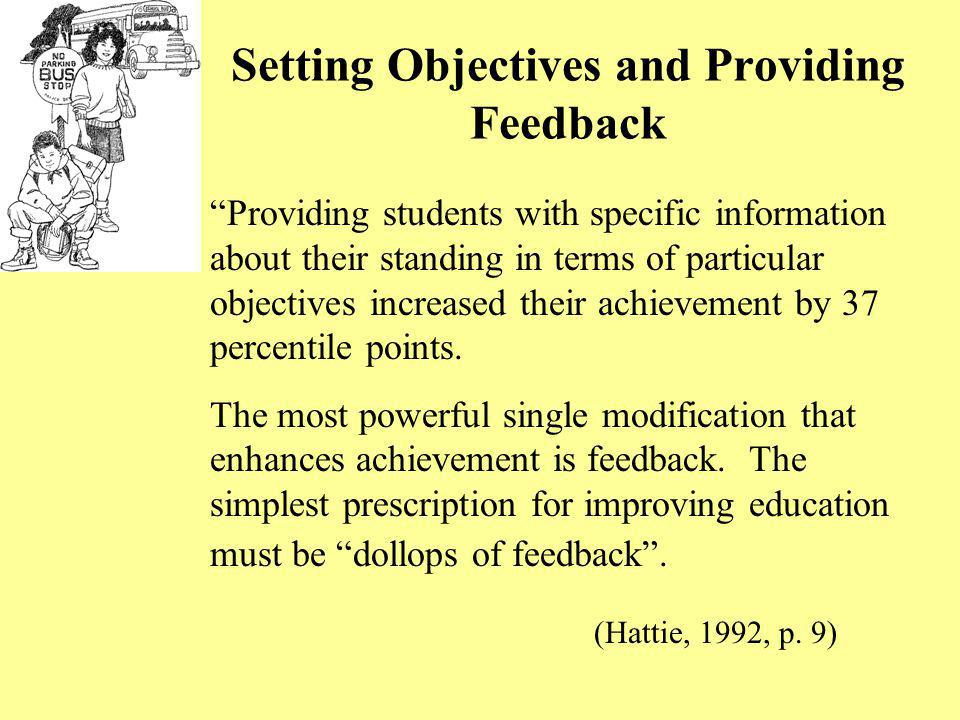 Setting Objectives and Providing Feedback