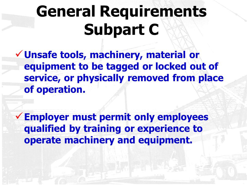 General Requirements Subpart C