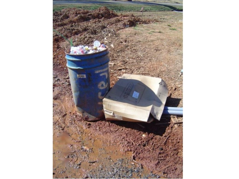 Containers can include garbage cans, dumpsters, wooden boxes, etc.