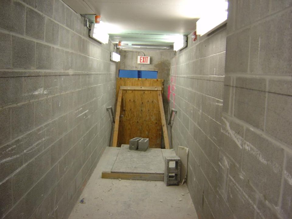 Blocked exit. Means of egress unclear.