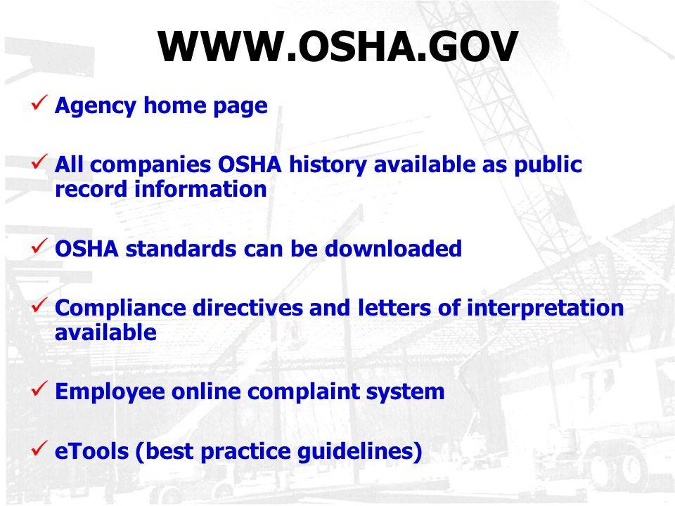 WWW.OSHA.GOV Agency home page