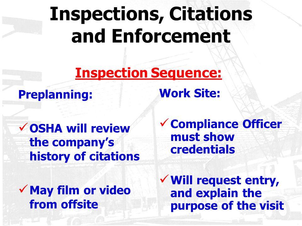 Inspections, Citations and Enforcement