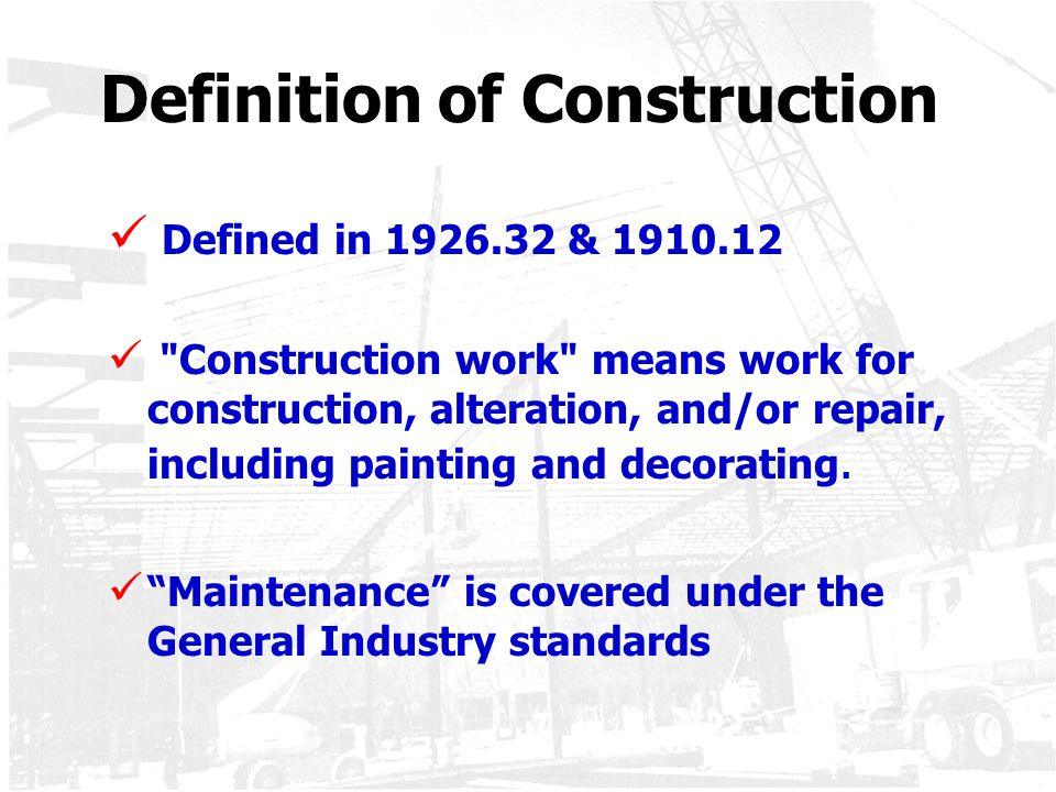 Introduction to osha subpart c 29 cfr designed by ppt for Definition construction