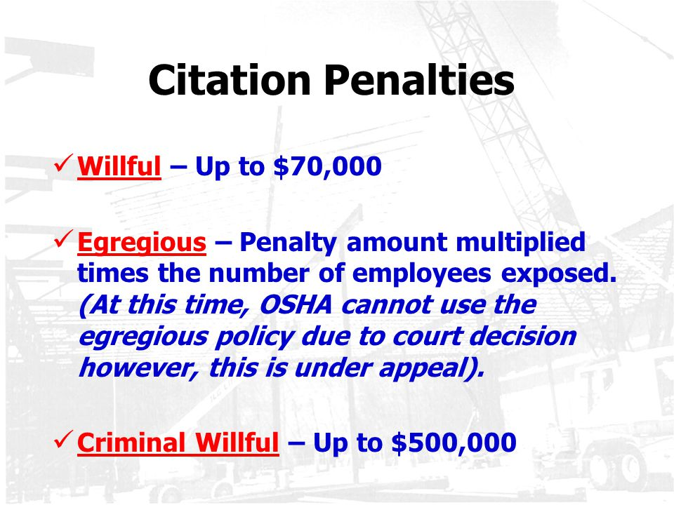 Citation Penalties Willful – Up to $70,000