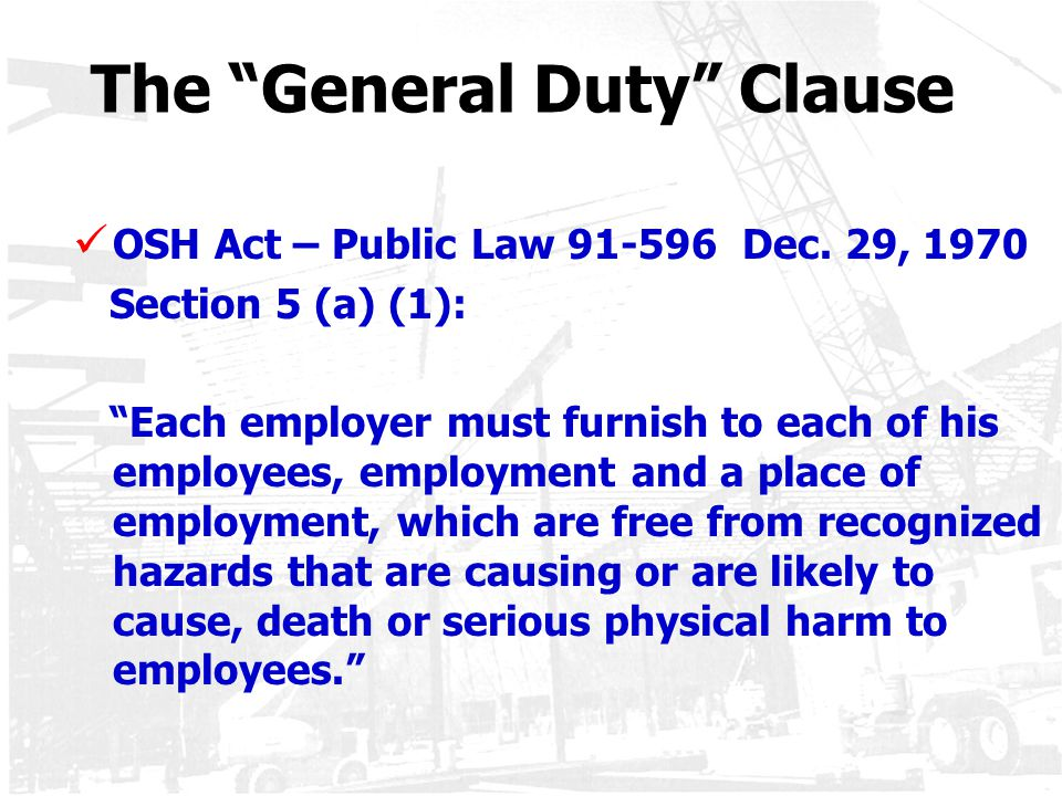 The General Duty Clause