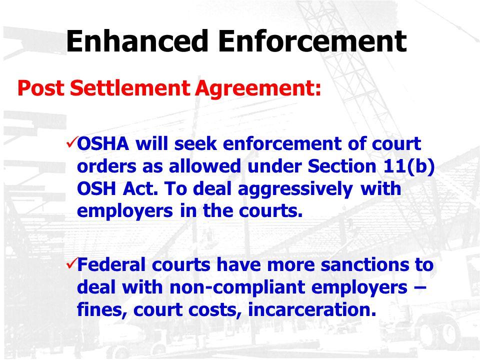 Enhanced Enforcement Post Settlement Agreement: