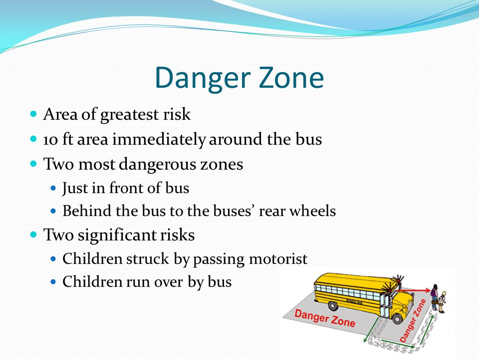 Danger Zone Area of greatest risk