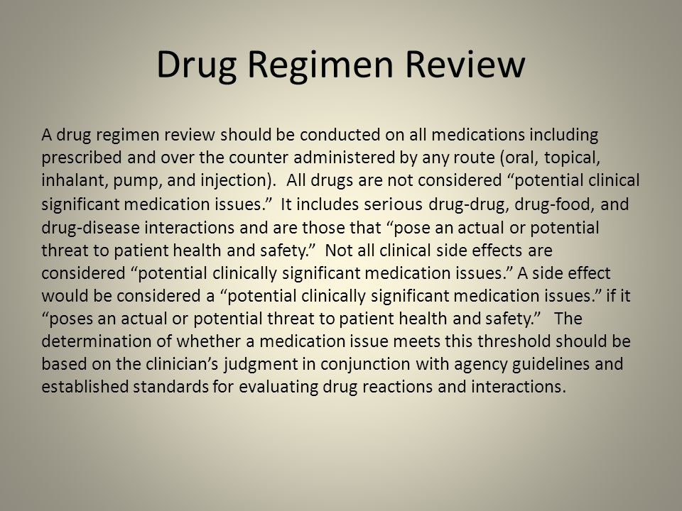 Drug Regimen Review