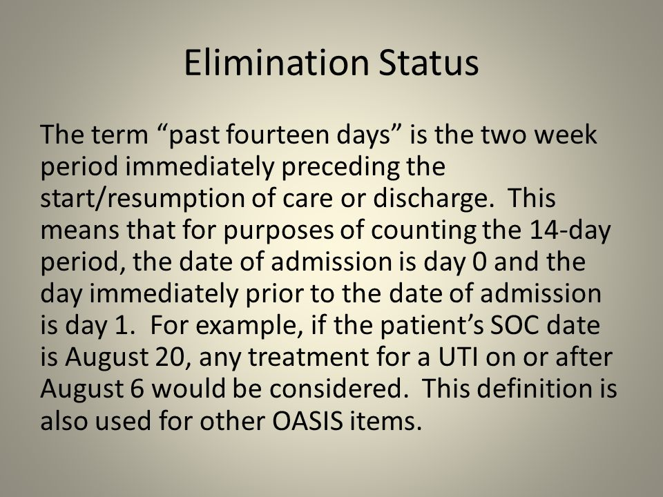 Elimination Status