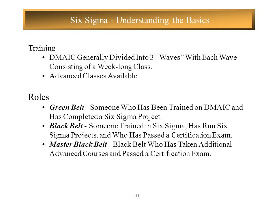 TrainingDMAIC Generally Divided Into 3 Waves With Each Wave Consisting of a Week-long Class. Advanced Classes Available.