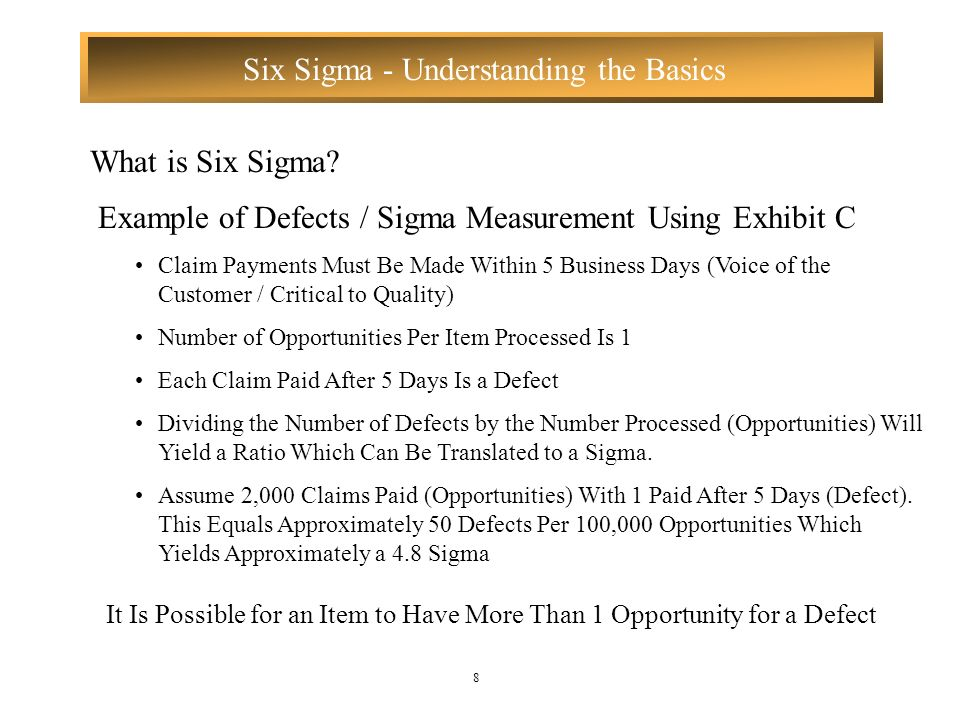 Example of Defects / Sigma Measurement Using Exhibit C