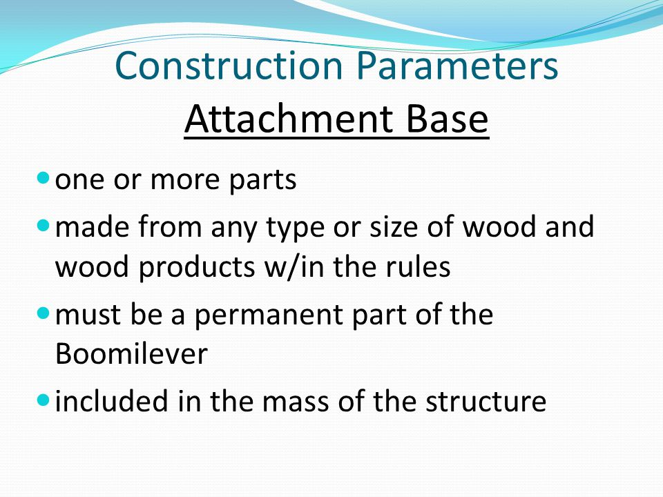 Construction Parameters Attachment Base