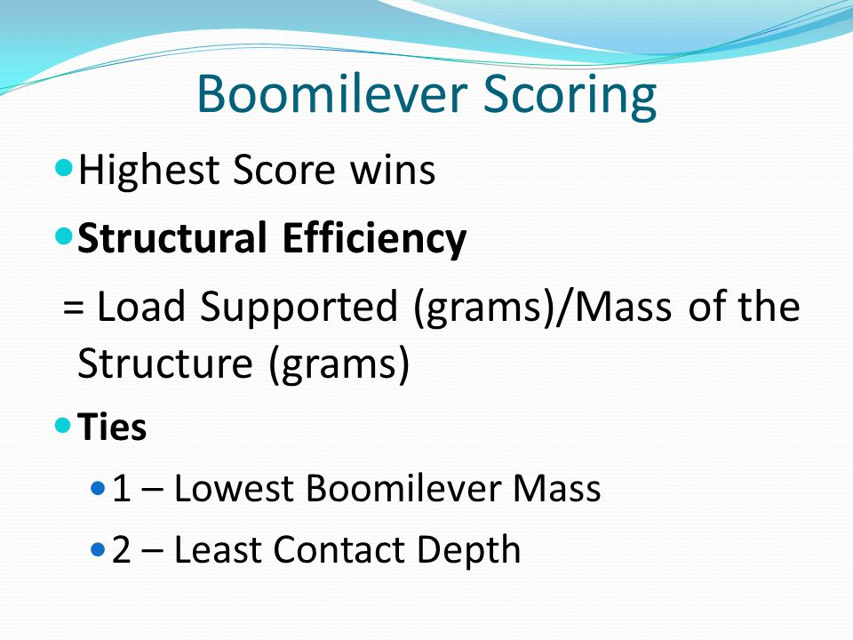 Boomilever Scoring Highest Score wins Structural Efficiency