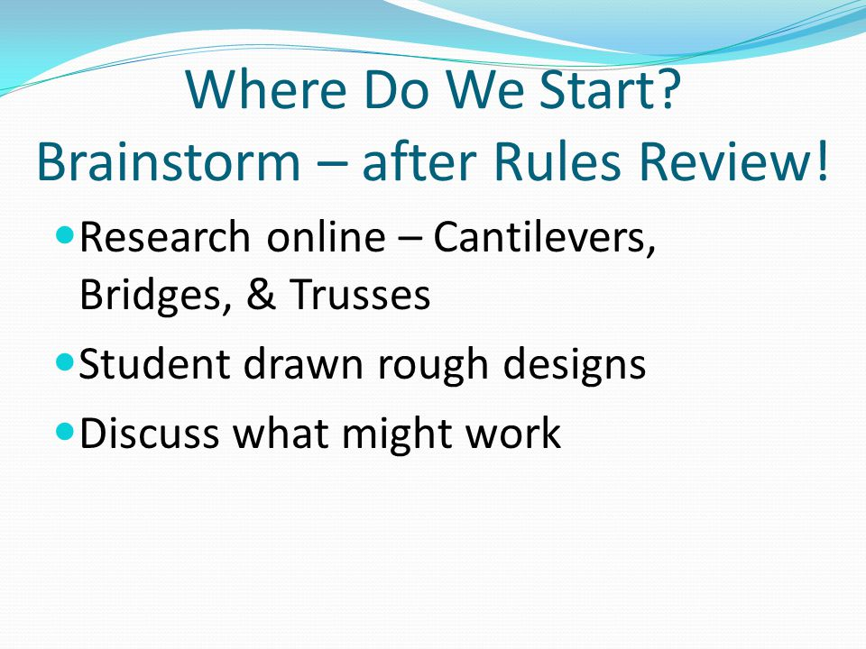 Where Do We Start Brainstorm – after Rules Review!