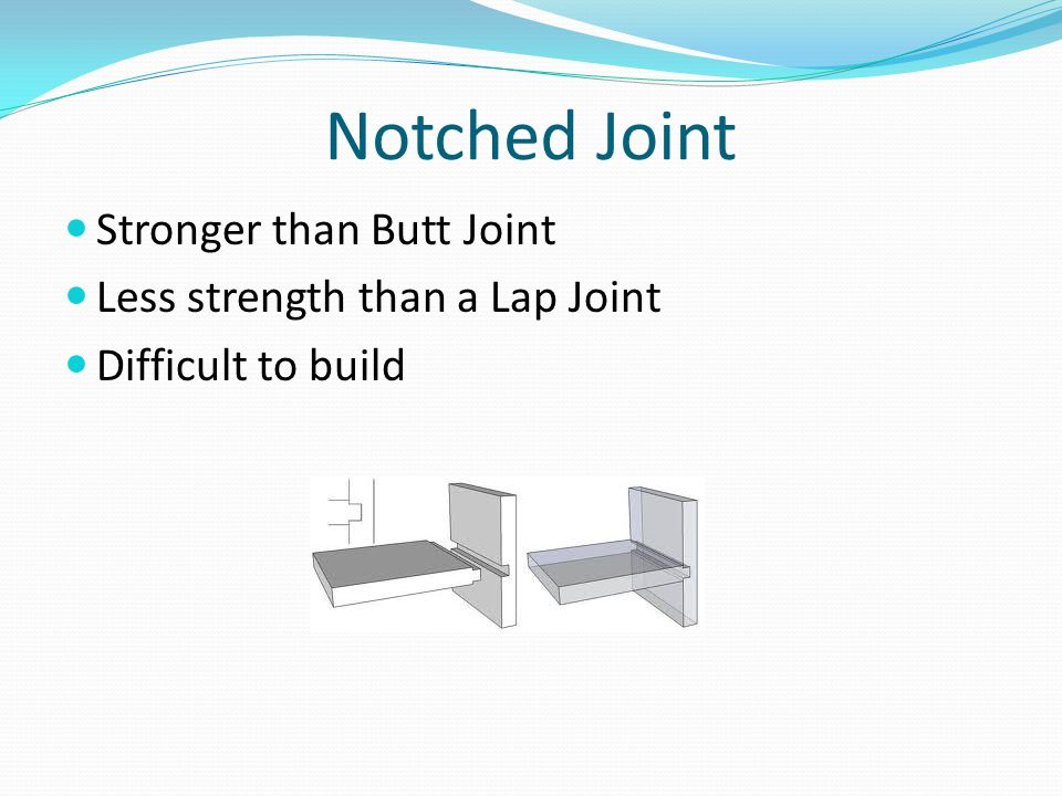 Notched Joint Stronger than Butt Joint Less strength than a Lap Joint