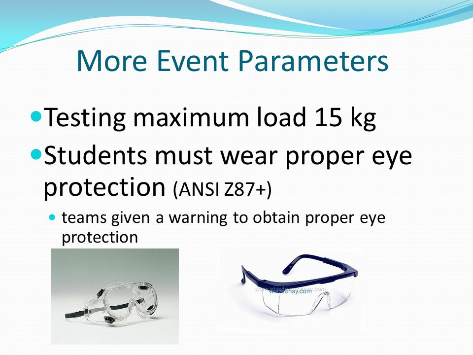More Event Parameters Testing maximum load 15 kg