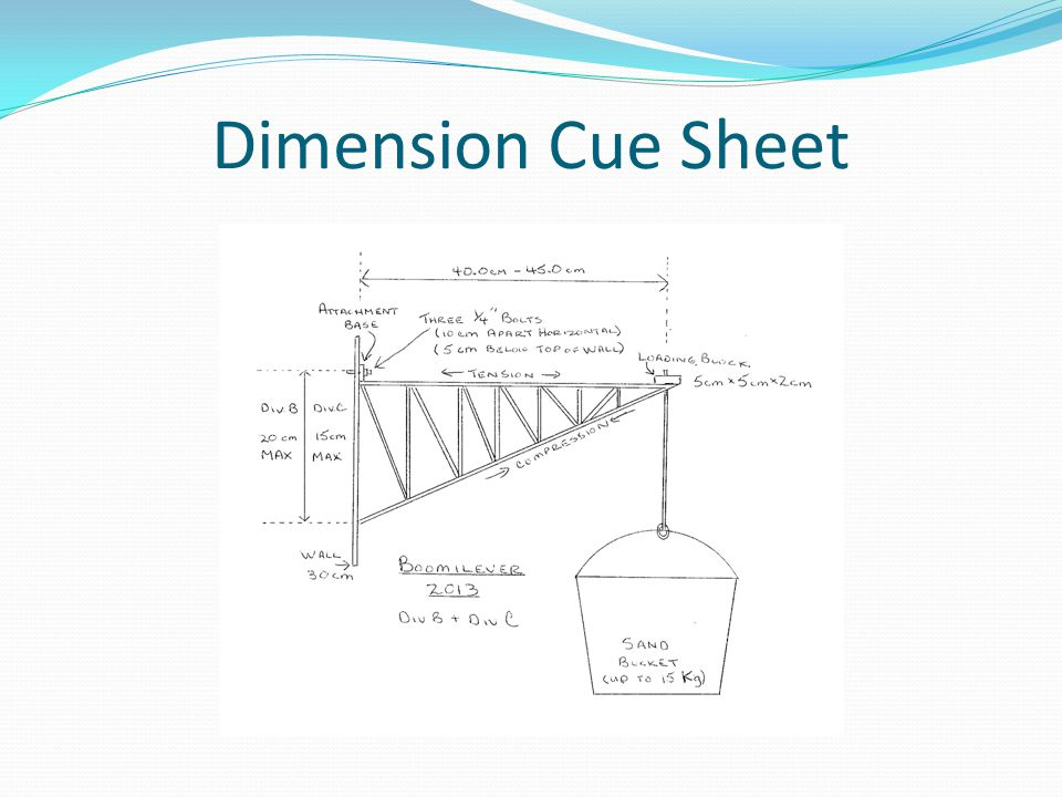 Dimension Cue Sheet