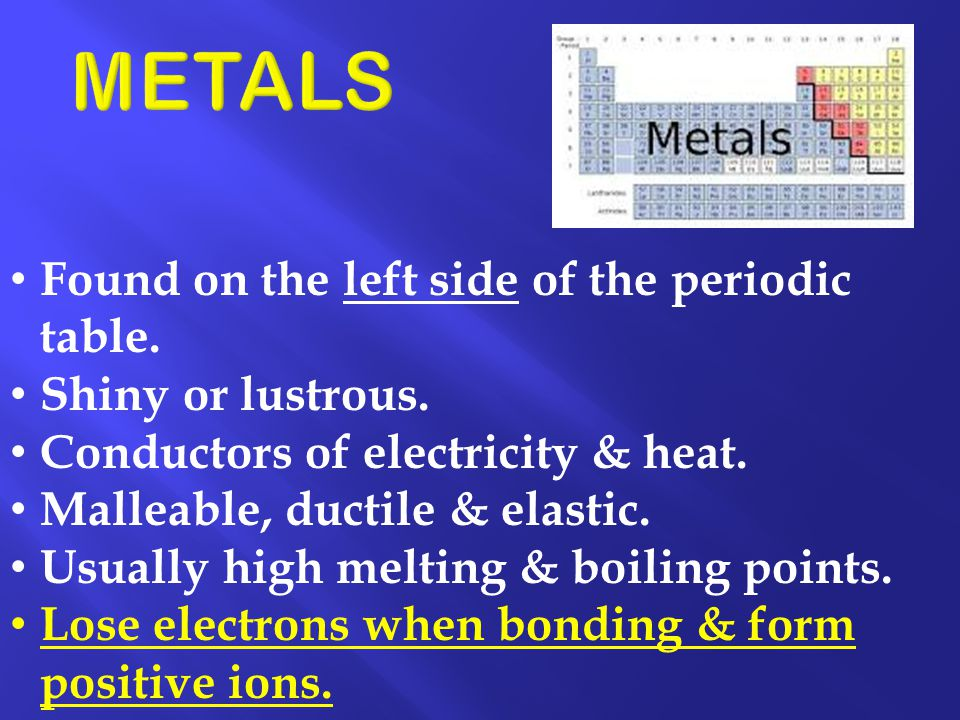 METALS Found on the left side of the periodic table.