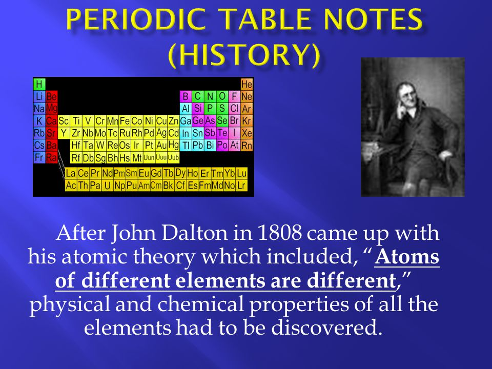 Periodic Table Notes (History)