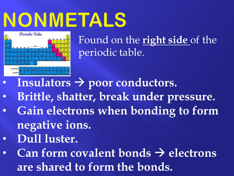 NONMETALS Insulators  poor conductors.