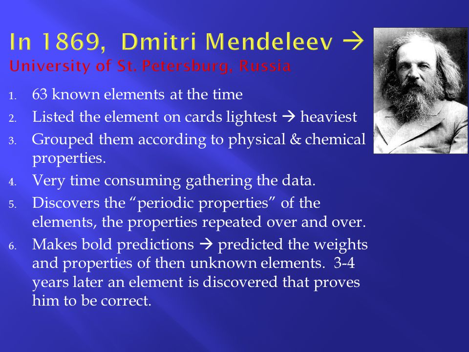 In 1869, Dmitri Mendeleev  University of St. Petersburg, Russia
