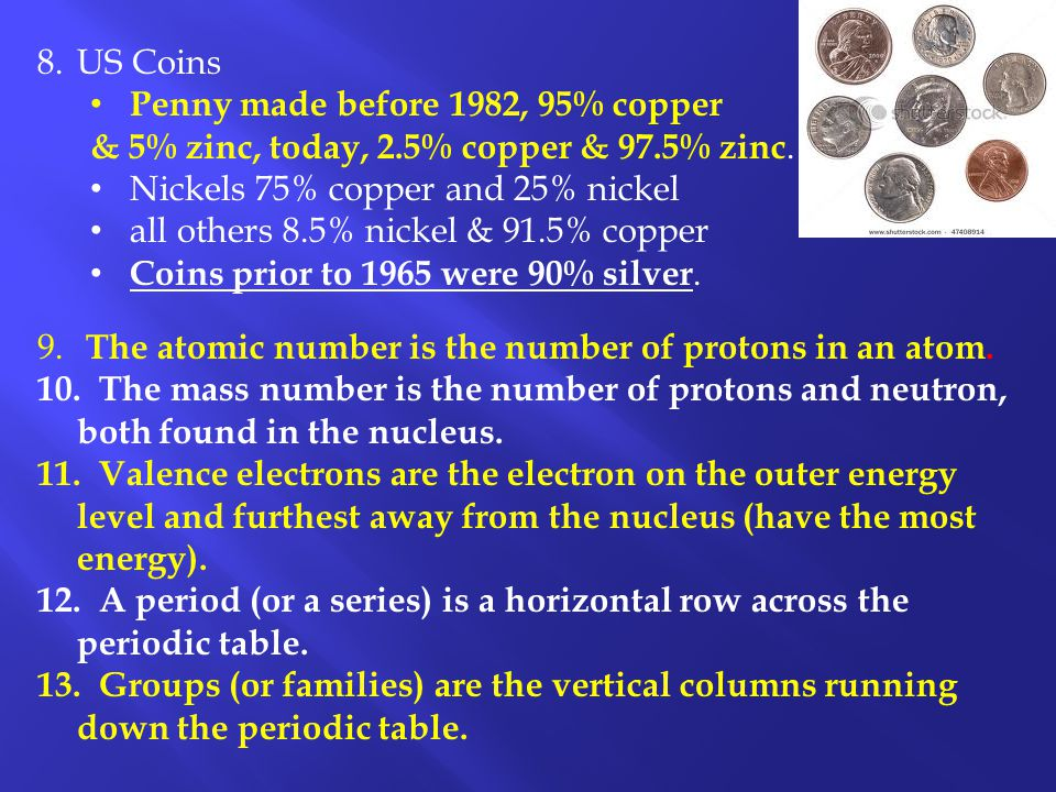 US Coins Penny made before 1982, 95% copper. & 5% zinc, today, 2.5% copper & 97.5% zinc. Nickels 75% copper and 25% nickel.