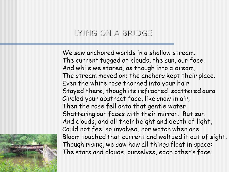 LYING ON A BRIDGE We saw anchored worlds in a shallow stream.