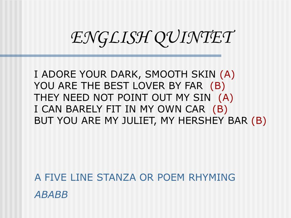 ENGLISH QUINTET I ADORE YOUR DARK, SMOOTH SKIN (A)