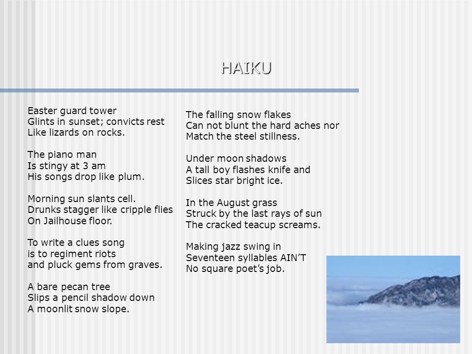 HAIKU Easter guard tower The falling snow flakes