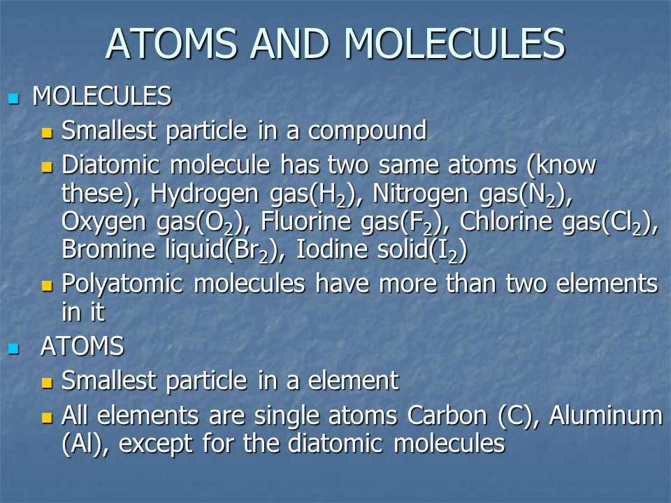 ATOMS AND MOLECULES MOLECULES Smallest particle in a compound