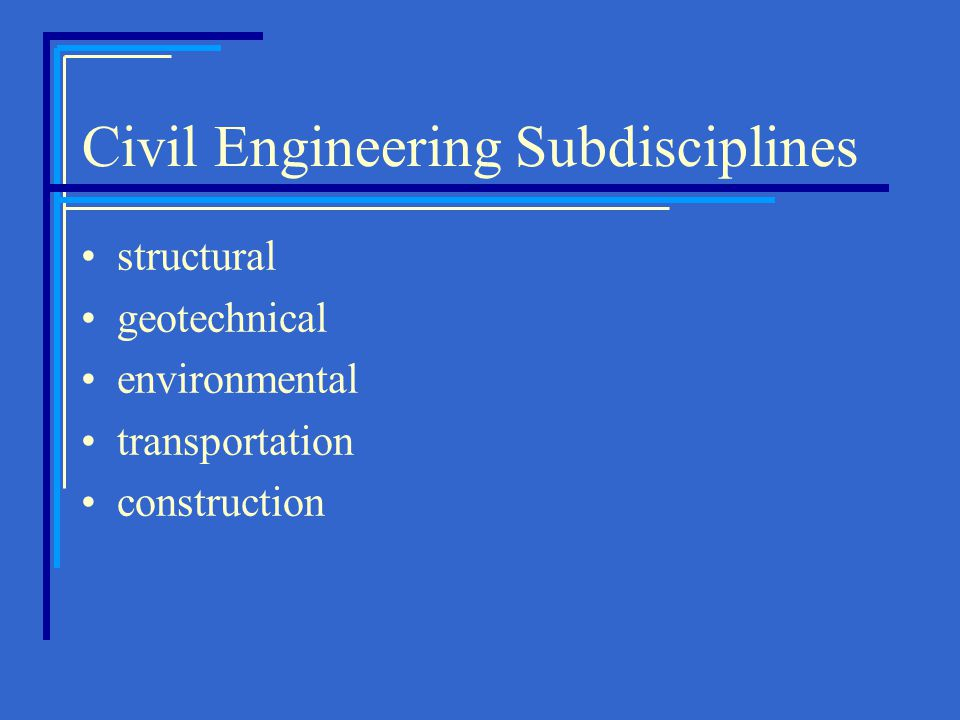 Civil Engineering Subdisciplines