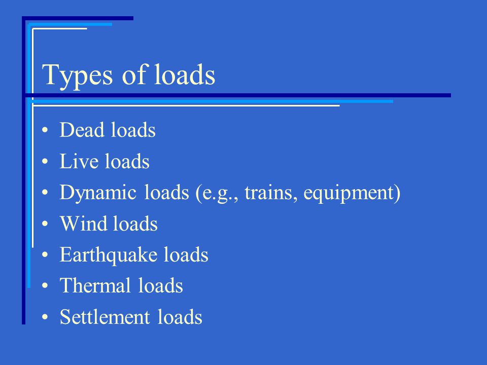 Types of loads Dead loads Live loads