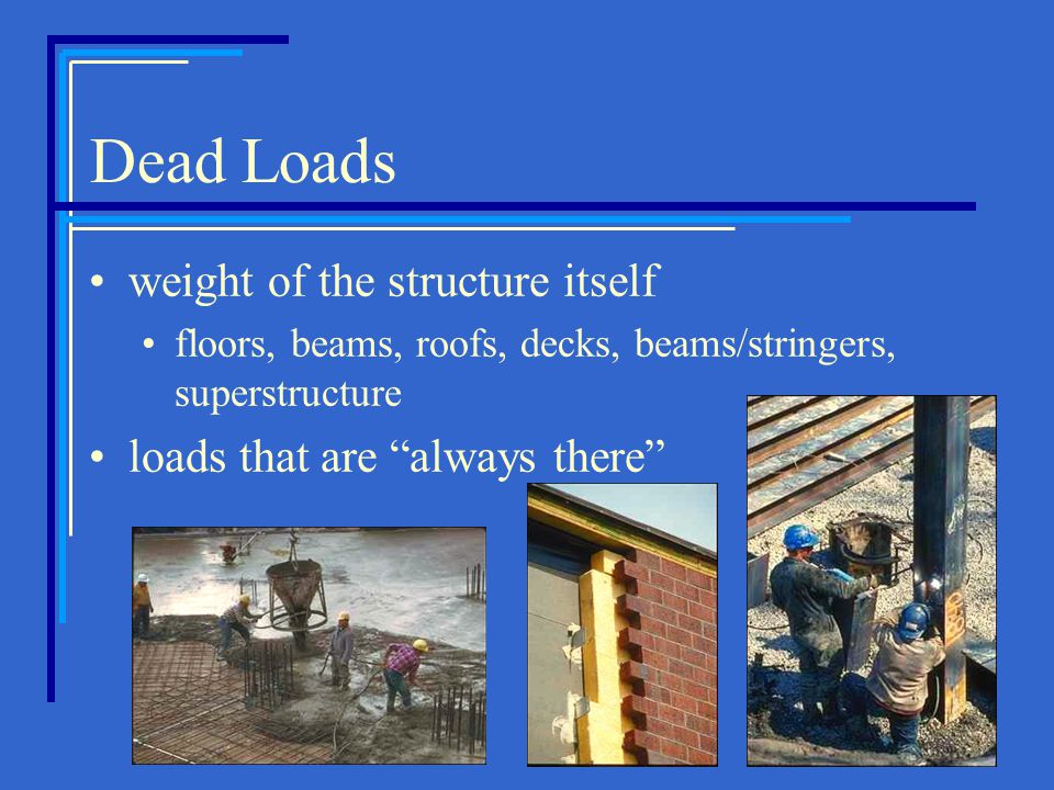Dead Loads weight of the structure itself