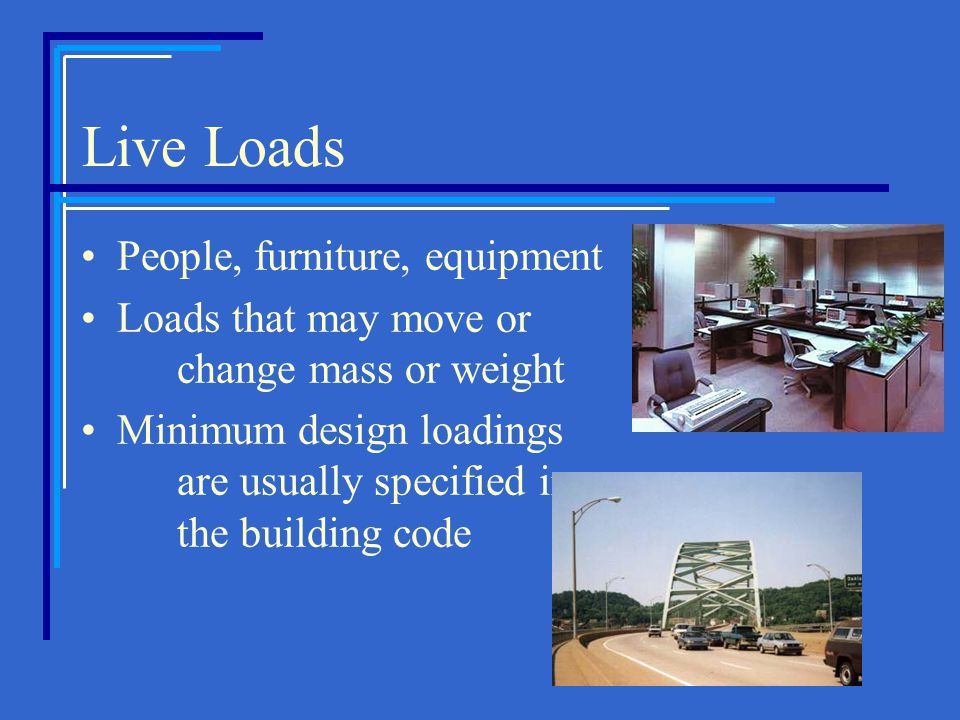 Live Loads People, furniture, equipment