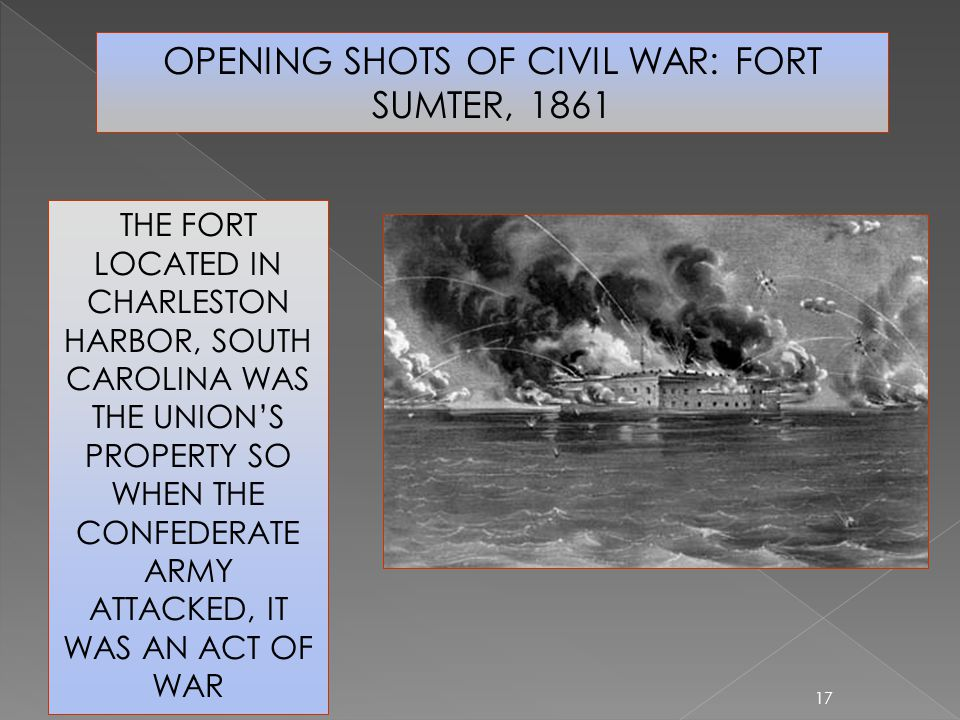 OPENING SHOTS OF CIVIL WAR: FORT SUMTER, 1861