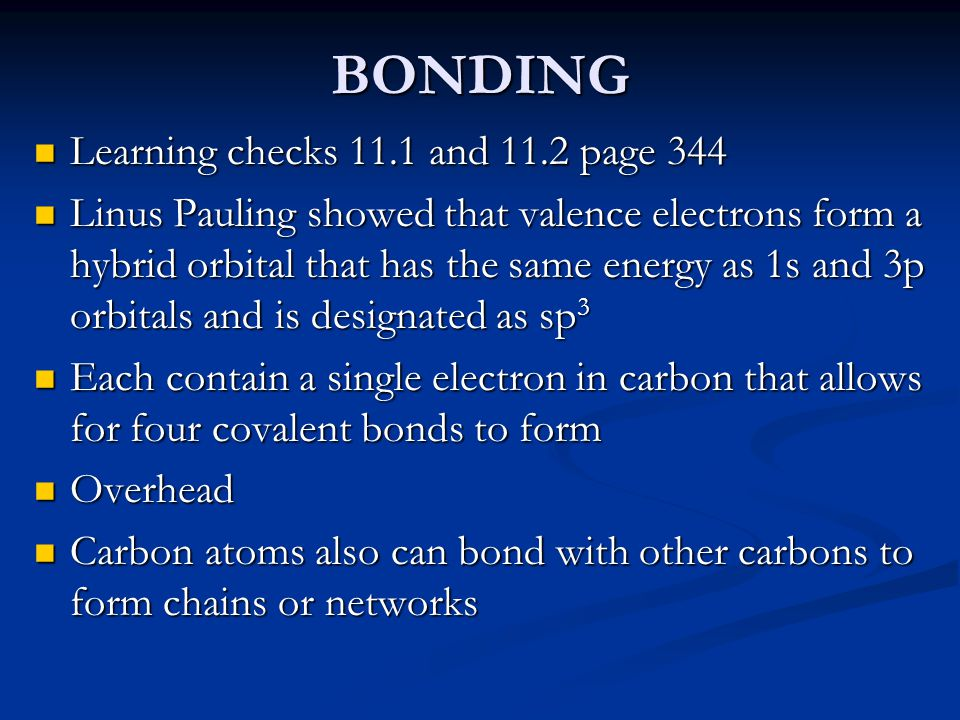 BONDING Learning checks 11.1 and 11.2 page 344