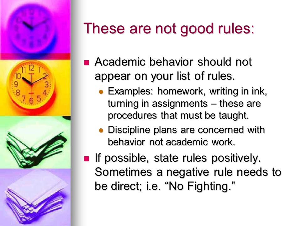 These are not good rules: