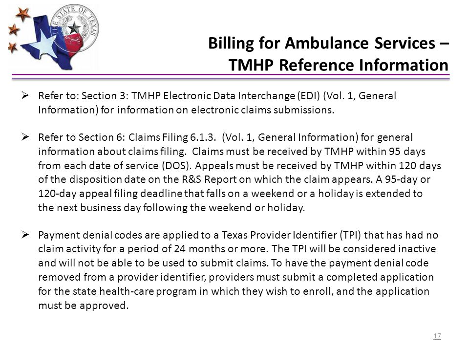 Billing for Ambulance Services – TMHP Reference Information