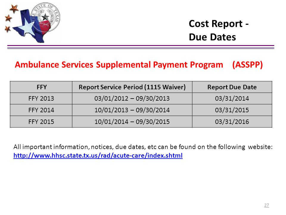 Cost Report - Due Dates Ambulance Services Supplemental Payment Program (ASSPP) FFY. Report Service Period (1115 Waiver)