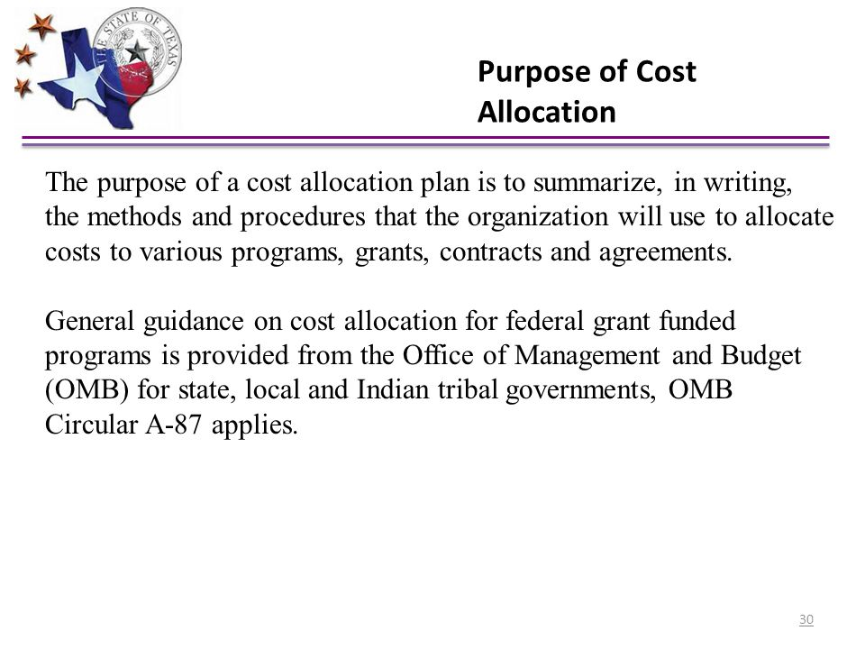 Purpose of Cost Allocation