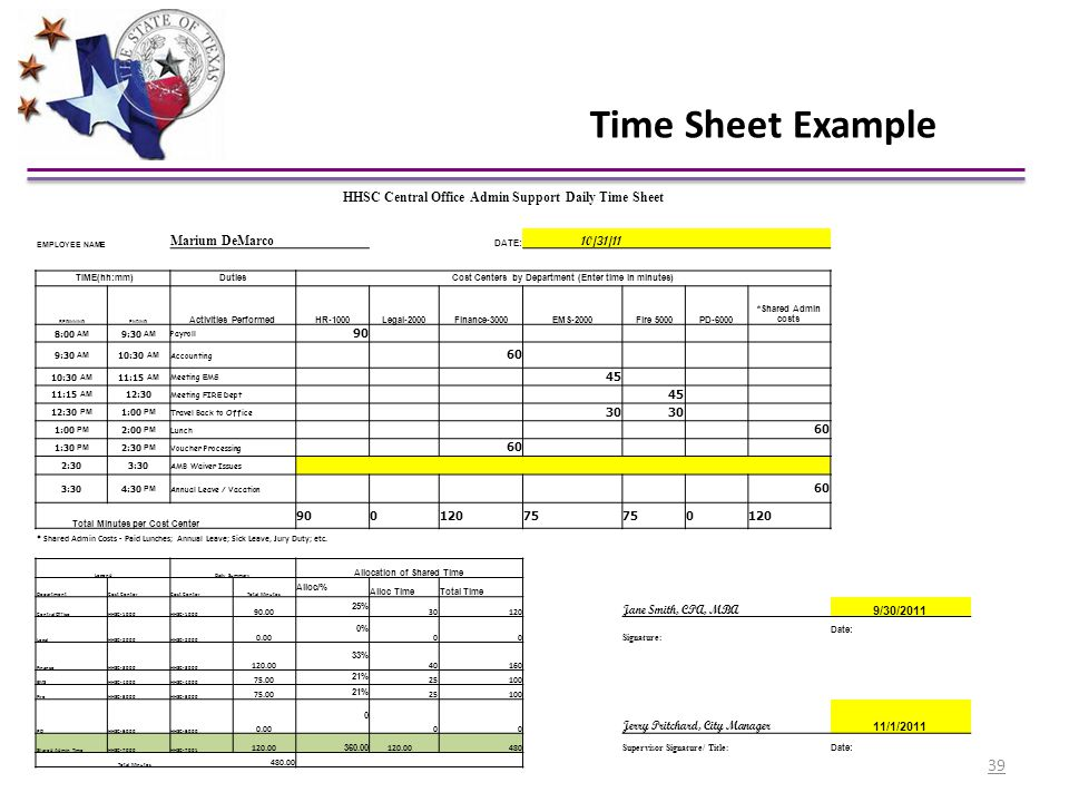 Time Sheet Example HHSC Central Office Admin Support Daily Time Sheet